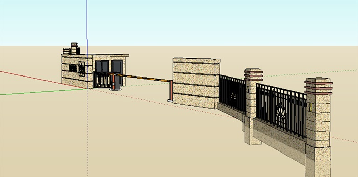 新古典门卫亭及围墙su模型