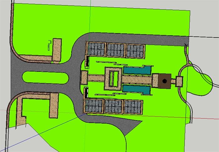 新古典风格大门及入口廊架su模型