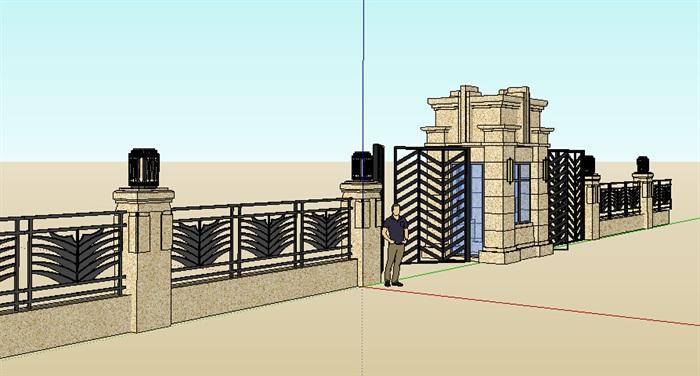 新古典大门及围墙设计su模型