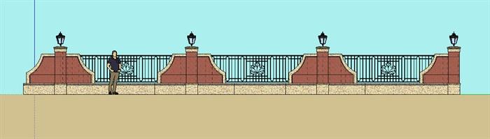 某新古典风格围墙设计su细致模型