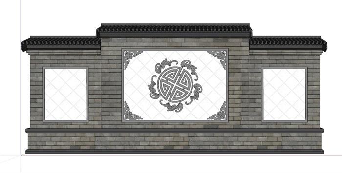 中式影壁景墙设计su模型