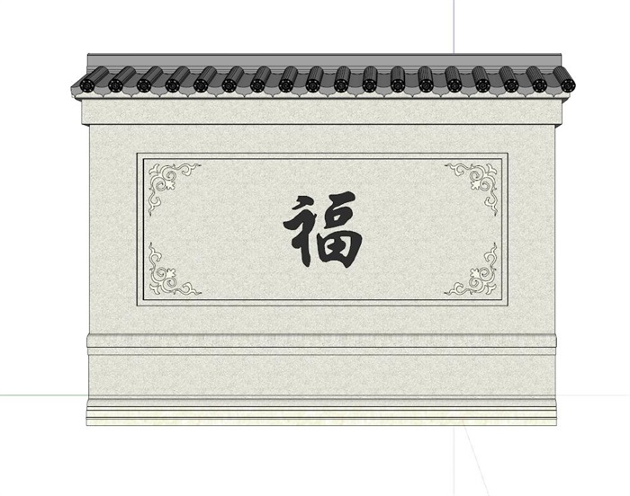 中式影壁景墙设计su细致模型