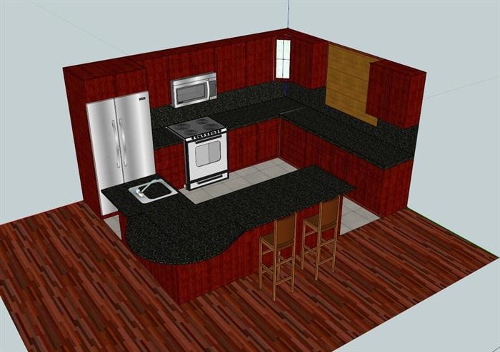 简约中式厨房设计su模型