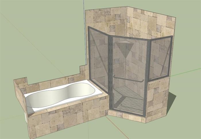 淋浴间及浴缸su模型
