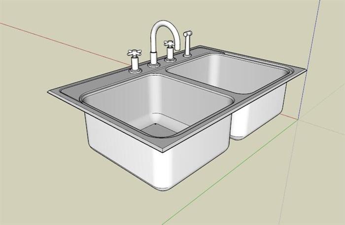 双盆洗手池su模型