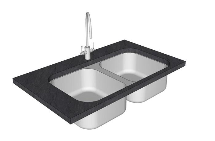 简约洗菜池设计su模型