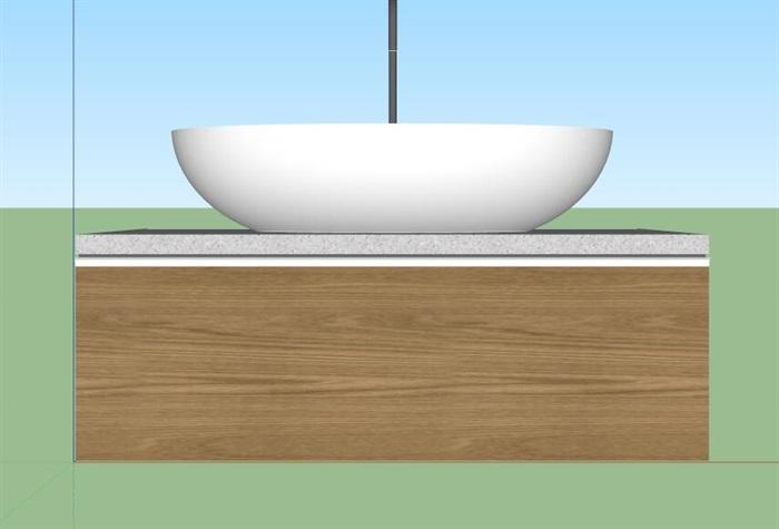 洗漱台洗漱池设计su模型