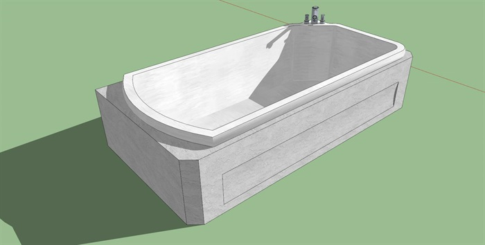 白色浴缸su模型