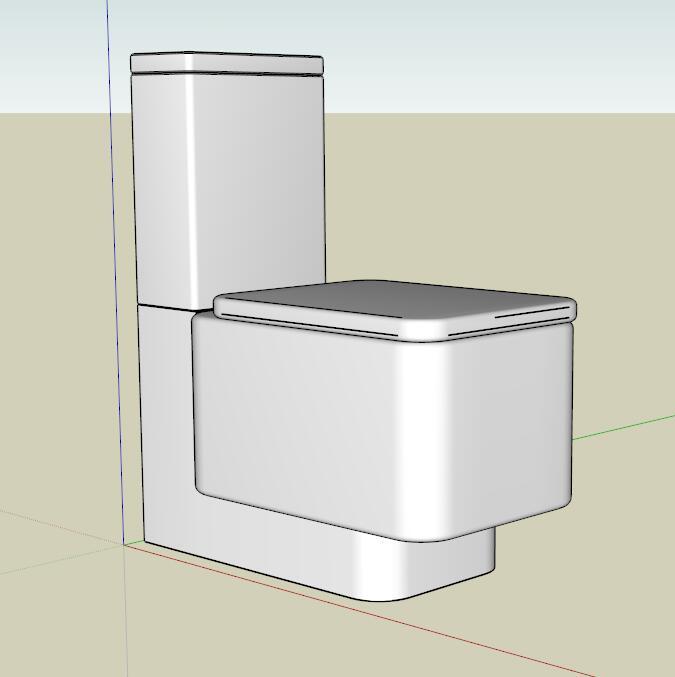 矩形马桶su模型