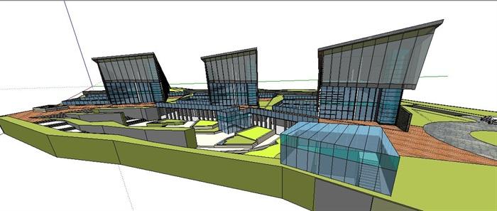 现代小品式办公楼建筑设计su模型(4)