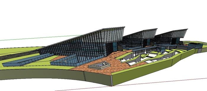 现代小品式办公楼建筑设计su模型(3)