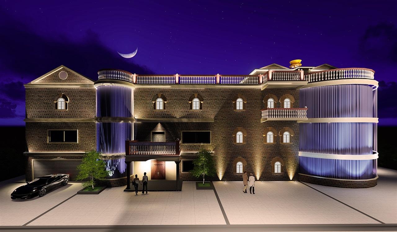私人别墅夜景效果,整个效果在夜间能够更好的体现出建筑本身的特点与韵味。 夜景照明(nightscape lighting) 泛指除功能性照明之外,针对性美化夜间人文景观,自然景观的照明。照明的对象有建筑或构筑物,广场、道路和桥梁,机场、车站和码头,名胜古迹,园林绿地,山体,江河水面,商业街和广告标志以及城市市政设施等的照明,其目的就是利用灯光将上述照明对象加以重塑,并有机地组合成一个和谐协调、优美壮观和富有特色的夜景图画,以此来表现一个城市或地区的夜间形象。 本案例采用了: 一、泛光照明(floodlig