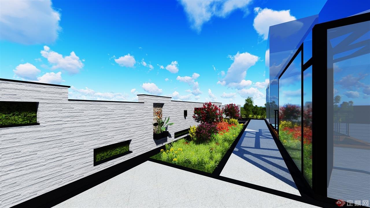 室外的围墙错落有致,简约大方,内空植上绿植.图片