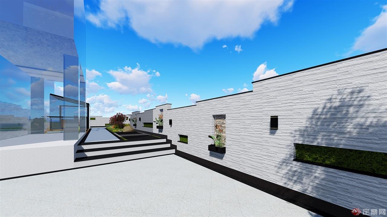 整体效果完整,符合现代围墙设计及人工学设计.图片