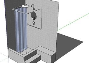 某浴室洗浴空间SU(草图大师)模型
