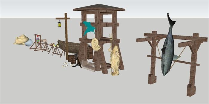 144个美丽乡村与农家乐田园农具景观小品设计su模型