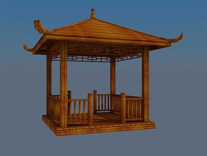 中式木制四角亭设计max模型[原创]