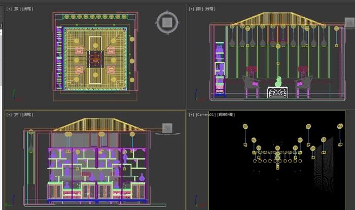 现代中式风格客厅3d模型(2)