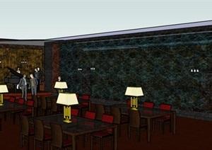 现代西餐厅室内装修SU(草图大师)模型