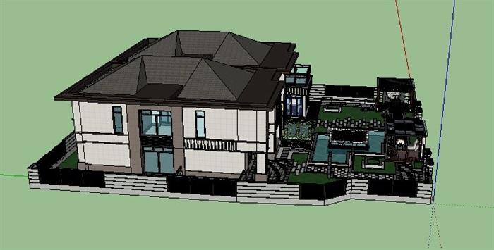新中式别墅及庭院景观su模型[原创]