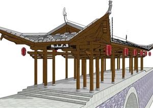 豪华中式景观桥廊桥SU(草图大师)模型