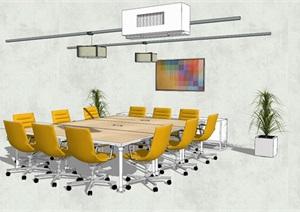精品现代详细会议桌椅组合SU(草图大师)模型