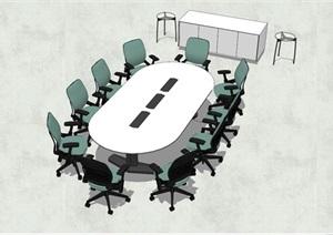 精品详细的会议室会议桌椅SU(草图大师)模型