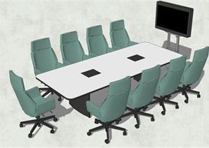 精品现代会议室桌椅组合SU(草图大师)模型
