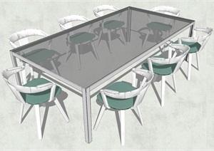 精品会议桌椅组合设计SU(草图大师)模型