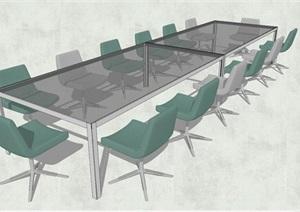 精品会议室桌椅组合SU(草图大师)模型