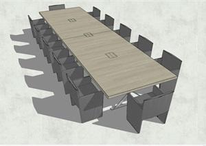精品会议桌椅组合SU(草图大师)模型