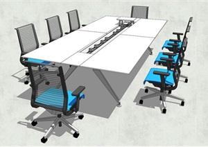 现代会议室会议桌椅SU(草图大师)模型
