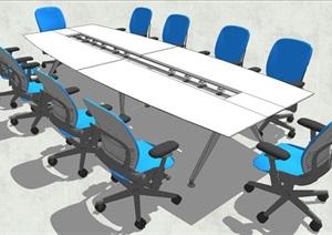 精品会议室会议桌椅SU(草图大师)模型