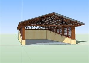 车库入口玻璃廊设计SU(草图大师)模型