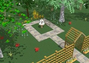 某园林景观节点素材组合SU(草图大师)模型