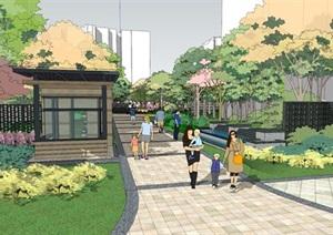 现代风格公园规划景观设计SU(草图大师)模型