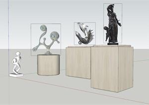 抽象雕塑及人物雕塑SU(草图大师)模型