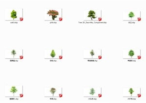 多种乔木植物素材设计SU(草图大师)模型