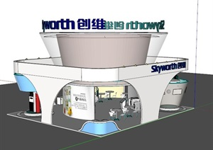 某独特的电器展厅设计SU(草图大师)模型