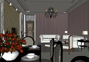 新古典住宅样板间室内设计SU(草图大师)模型