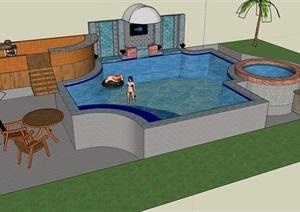 现代风格小泳池景观设计SU(草图大师)模型