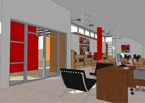现代简约书店建筑及室内设计SU(草图大师)模型