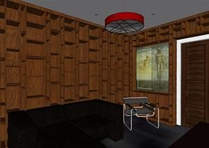 现代风格接待室室内装修SU(草图大师)模型