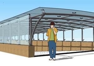 车库入口玻璃廊架SU(草图大师)细致模型