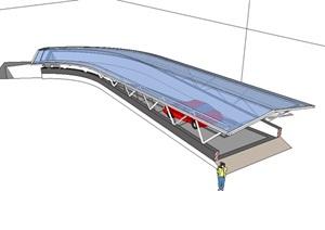 车库入口玻璃详细廊设计SU(草图大师)模型