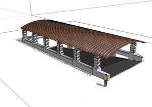 车库入口独特详细廊架设计SU(草图大师)模型