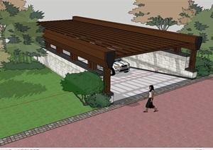 木质车库入口廊架设计SU(草图大师)模型