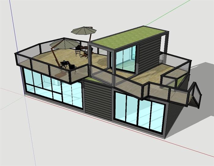 集装箱电梯住宅建筑su别墅[原创]别墅怎么选模型图片