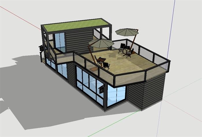 集装箱私人住宅建筑su别墅[原创]别墅普吉岛婚礼模型图片