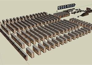 某室内图书馆空间SU(草图大师)模型
